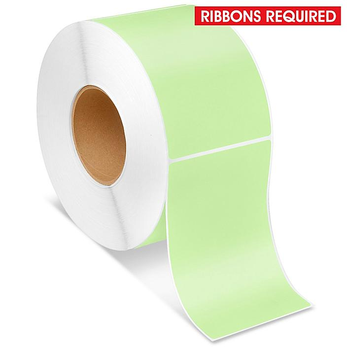 """Industrial Thermal Transfer Labels - Green, 4 x 6"""", Ribbons Required S-5955G"""