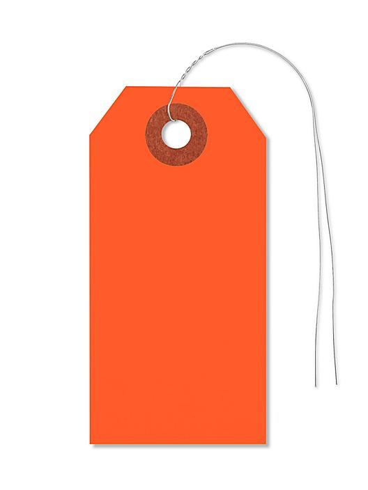 """Fluorescent Tags - #2, 3 1/4 x 1 5/8"""", Pre-wired, Red S-5979RPW"""