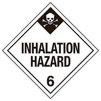 """D.O.T. Placard - """"Inhalation Hazard 6"""", Tagboard S-6129T"""
