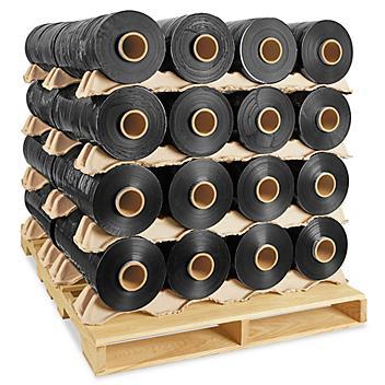 "Uline Machine Length Wrap Skid Lot - Cast, 80 gauge, 20"" x 6,000', Black Opaque S-6144S"