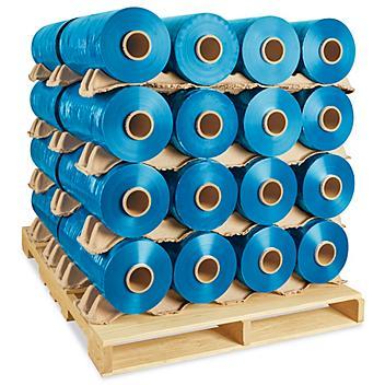 "Uline Machine Length Wrap Skid Lot - Cast, 80 gauge, 20"" x 6,000', Blue S-6146S"