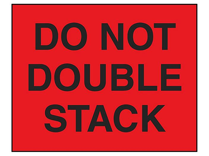 """Jumbo Pallet Protection Labels - """"Do Not Double Stack"""", 8 x 10"""" S-6169"""