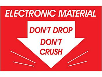 """""""Electronic Material/Don't Drop/Don't Crush"""" Label - 2 x 3"""" S-6202"""