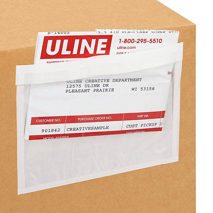 """Top Loading Packing List Envelopes - Clear, 5 1/2 x 4 1/2"""" S-6222"""