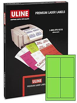 "Uline Laser Labels - Fluorescent, 4 x 6"""