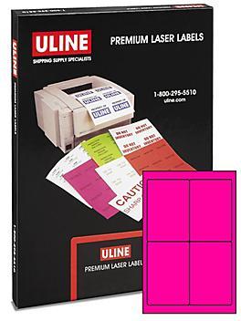 "Uline Laser Labels - Fluorescent Pink, 4 x 6"" S-6229P"