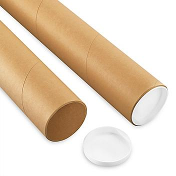 """Kraft Mailing Tubes with End Caps - 3 x 56"""", .125"""" thick S-6241"""