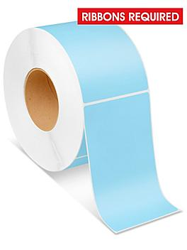 """Industrial Thermal Transfer Labels - Blue, 4 x 6 1/2"""", Ribbons Required S-6255BLU"""