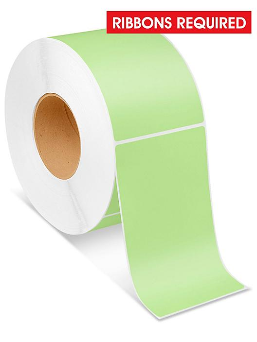 """Industrial Thermal Transfer Labels - Green, 4 x 6 1/2"""", Ribbons Required S-6255G"""