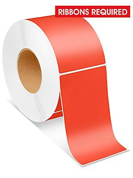 """Industrial Thermal Transfer Labels - Red, 4 x 6 1/2"""", Ribbons Required S-6255R"""