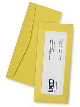 "Full View Window Envelopes - 4 1/8 x 9 1/2"", Yellow S-6291Y"