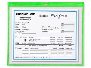 "Job Ticket Holders - 15 x 12"", Green S-6415G"