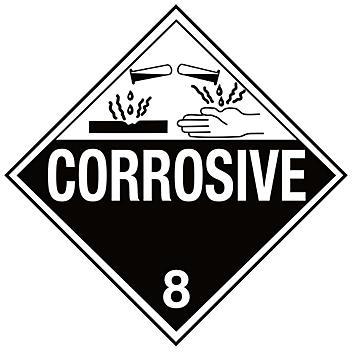 "D.O.T. Placard - ""Corrosive"", Adhesive Vinyl S-653V"