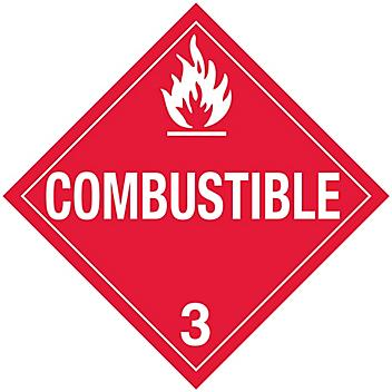 """D.O.T. Placard - """"Combustible"""", Tagboard S-654T"""