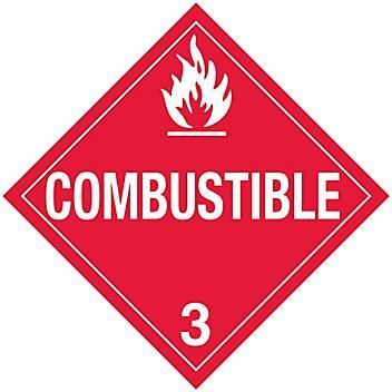 "D.O.T. Placard - ""Combustible"", Adhesive Vinyl S-654V"