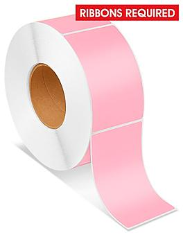 """Industrial Thermal Transfer Labels - Pink, 3 x 5"""", Ribbons Required S-6936P"""
