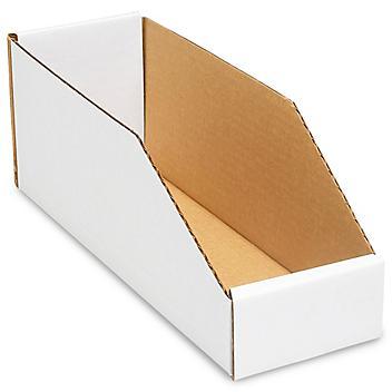 "White Corrugated Parts Bins - 4 x 12 x 4 1/2"" S-704"