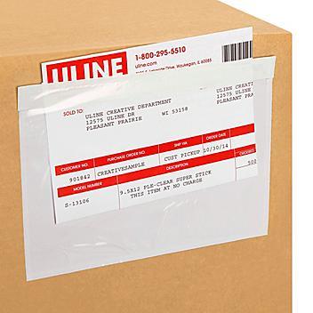 """Sobres para Listas de Empaque con Abertura Superior - Transparentes, 7 1/2 x 5 1/2"""" S-750"""