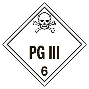 "D.O.T. Placard - ""PG III"", Tagboard S-8093T"