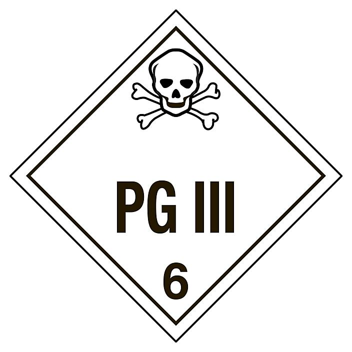 "D.O.T. Placard - ""PG III"", Adhesive Vinyl S-8093V"