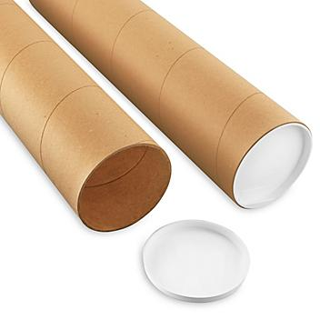 """Jumbo Kraft Mailing Tubes with End Caps - 5 x 60"""", .125"""" thick S-8099"""