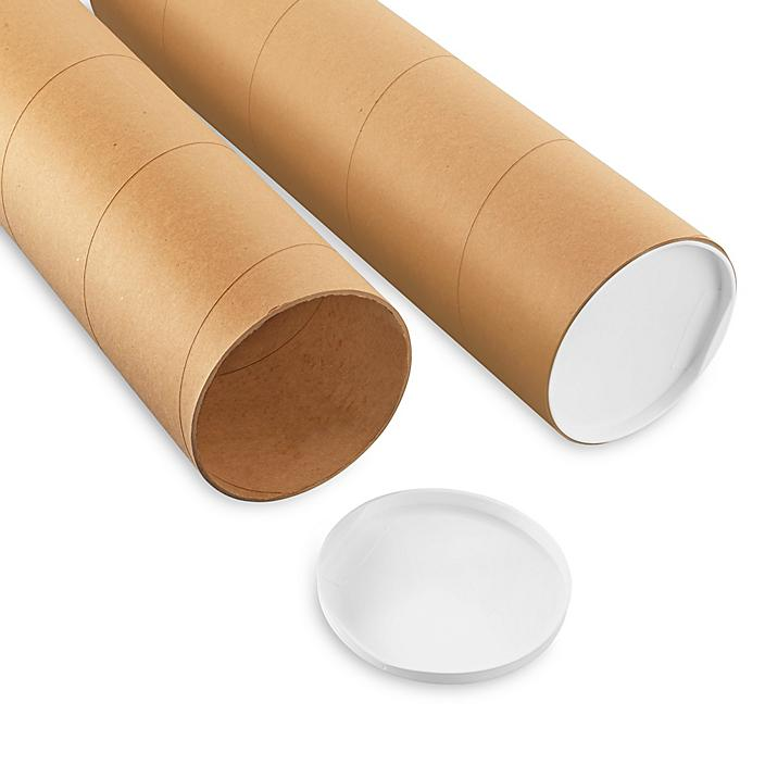 """Jumbo Kraft Mailing Tubes with End Caps - 6 x 48"""", .125"""" thick S-8100"""