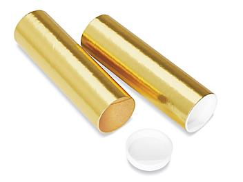 """Mailing Tubes with End Caps - 2 x 6"""", .060"""" thick, Gold S-8101GOLD"""