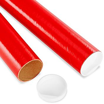 """Mailing Tubes with End Caps - 2 x 12"""", .060"""" thick, Red S-8103RED"""