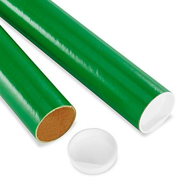 """Mailing Tubes with End Caps - 2 x 24"""", .060"""" thick, Green S-8104GRN"""