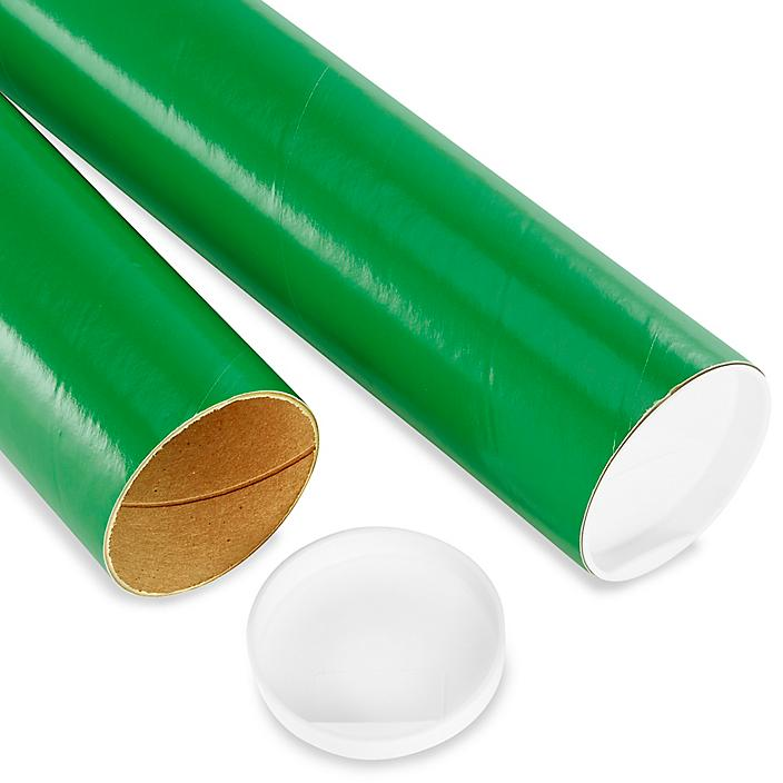 """Mailing Tubes with End Caps - 3 x 24"""", .070"""" thick, Green S-8106GRN"""
