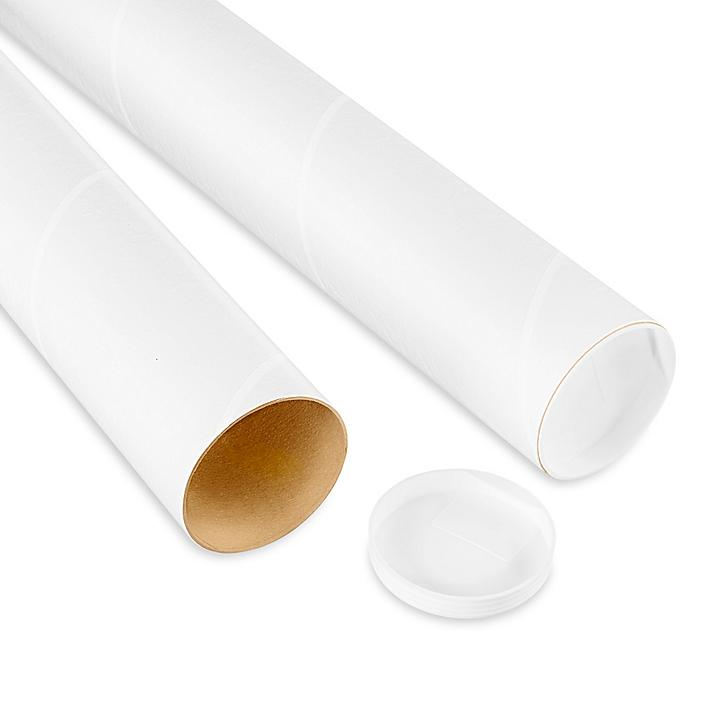 """White Tubes with End Caps - 3 x 6"""", .060"""" thick S-8134"""