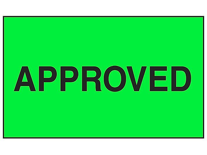 """Production Labels - """"Approved"""", 3 x 5"""" S-8177"""