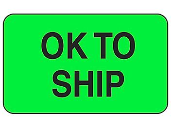 """Production Labels - """"OK to Ship"""", 1 1/4 x 2"""" S-8190"""