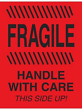 """""""Fragile/Handle with Care/This Side Up"""" Label - 4 x 6"""" S-8240"""