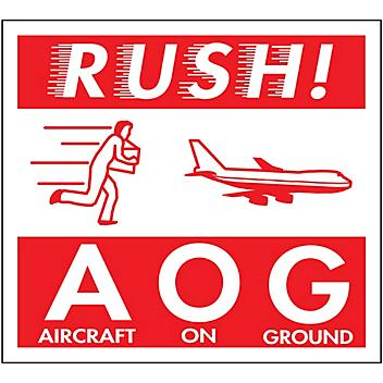 """Air Labels - """"Rush! AOG/Aircraft on Ground"""", 4 x 4"""" S-8250"""