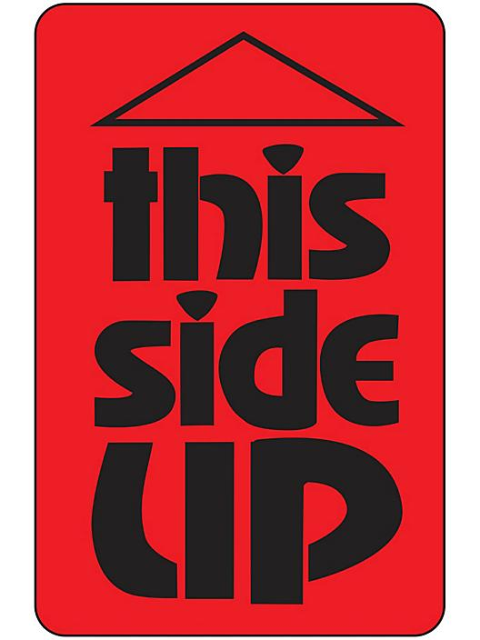 """Fluorescent Shipping Labels - """"This Side Up"""", 3 x 5"""" S-8251"""