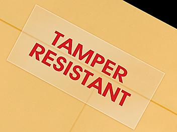 """""""Tamper Resistant"""" Labels - Clear, 5/8 x 1 1/4"""" S-8324"""