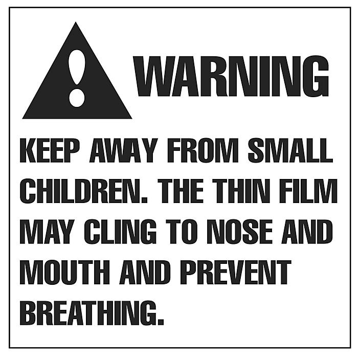 """Suffocation Warning Label - 2 x 2"""" S-8329"""