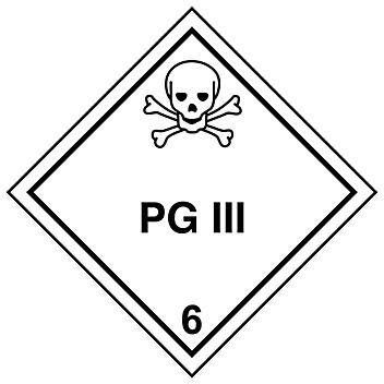 "D.O.T. Labels - ""PG III"", 4 x 4"" S-8439"