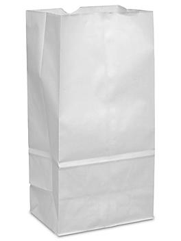 """Paper Grocery Bags - 6 1/8 x 4 x 12 3/8"""", #8, White S-8536"""