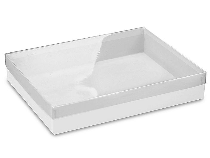 """Clear Lid Boxes with White Base - 11 1/4 x 8 3/4 x 2"""" S-8543"""