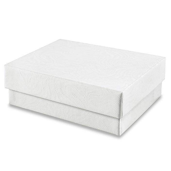 "Jewelry Boxes - 3 1/16 x 2 1/8 x 1"", White Swirl S-8560"