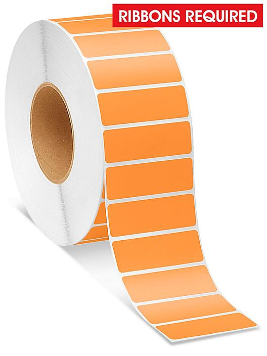 """Industrial Thermal Transfer Labels - Orange, 3 x 1"""", Ribbons Required S-8566O"""
