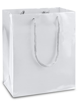 """High Gloss Shopping Bags - 8 x 4 x 10"""", Cub, White S-8586W"""