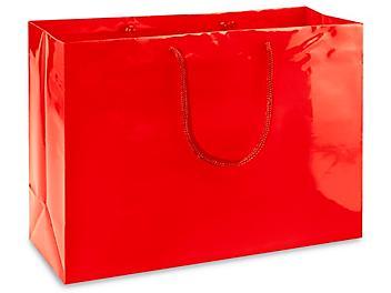 "High Gloss Shopping Bags - 16 x 6 x 12"", Vogue, Red S-8587R"