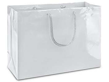 "High Gloss Shopping Bags - 16 x 6 x 12"", Vogue, White S-8587W"