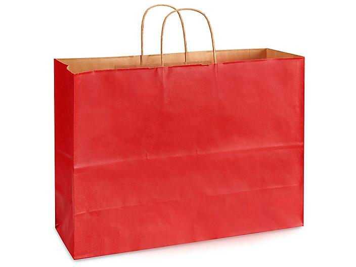 """Kraft Tinted Color Shopping Bags - 16 x 6 x 12"""", Vogue, Red S-8592R"""
