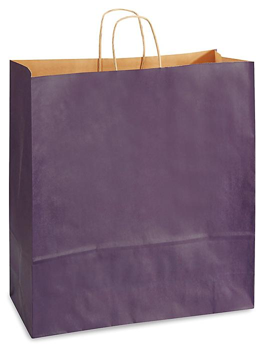 """Kraft Tinted Color Shopping Bags - 16 x 6 x 19 1/4"""", Queen, Purple S-8593PUR"""