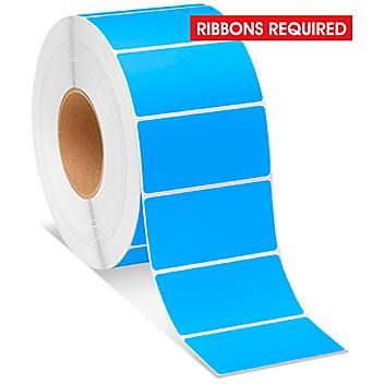 """Industrial Thermal Transfer Labels - Fluorescent Blue, 4 x 2"""", Ribbons Required S-8597BLU"""