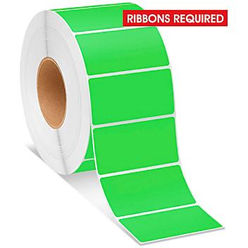 """Industrial Thermal Transfer Labels - Fluorescent Green, 4 x 2"""", Ribbons Required S-8597G"""